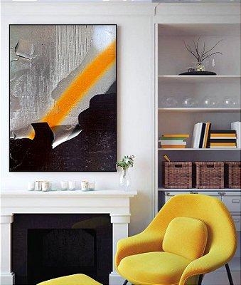 Quadro abstrato listra amarela ff122