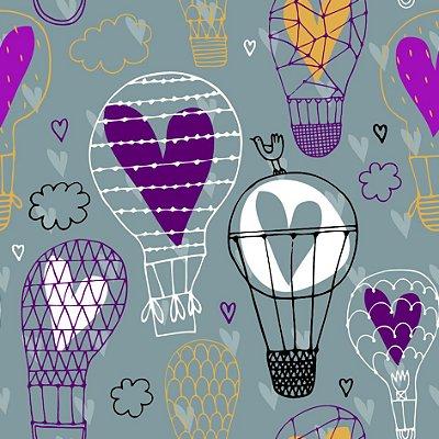 Papel de parede balões e corações fp674