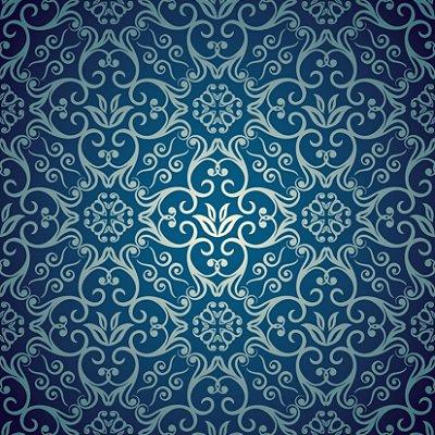 Papel de parede arabesco azul fp408