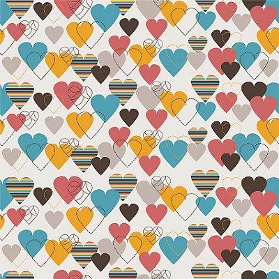 Papel de parede corações coloridos fp114