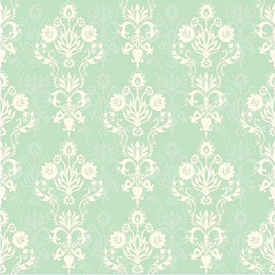 Papel de parede damasco tom verde fp139