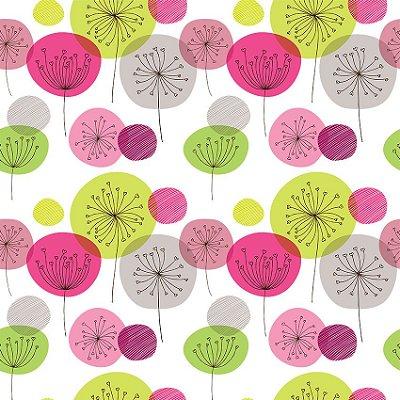 Papel de parede flor verde e rosa fp124