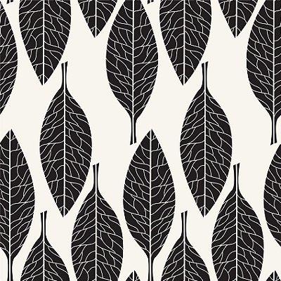 Papel de parede folhas preto e branco fp150