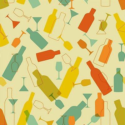 Papel de parede garrafas e copos fp118