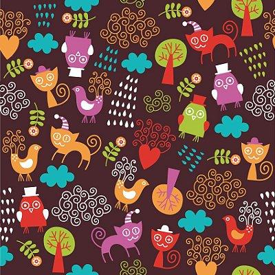 Papel de parede gatos e pássaros fp140
