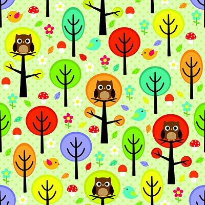 Papel de parede árvores e corujas fp1076