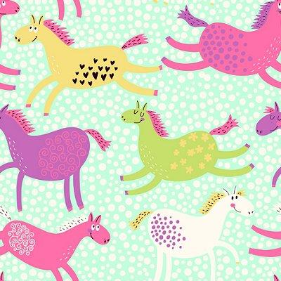 Papel de parede cavalos infantis fp1106
