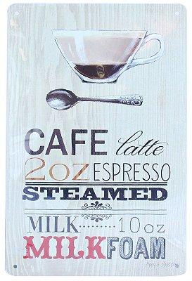 """Placa Decorativa """"Café Latte Espresso"""""""