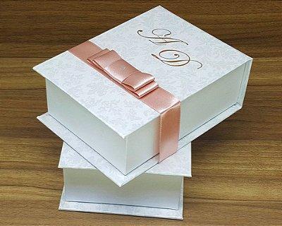 Caixa Padrinhos Monograma 12x8x4cm