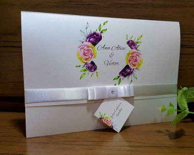 Convite de Casamento Econômico Floral