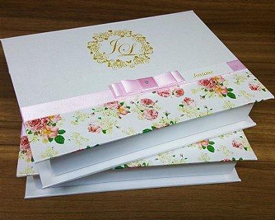 Caixa Convite Padrinhos rosa rose 19x13,5x3,5cm