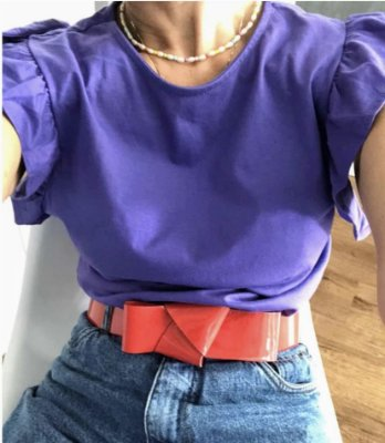 Tee violeta manga babadinho