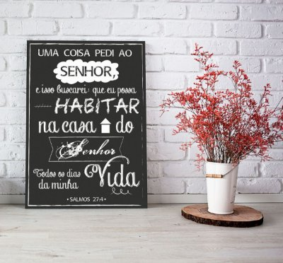 Placa Decorativa Salmos 27:4 Lettering