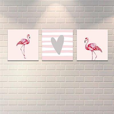 Quadros Decorativos Flamingos Mod2 40x40cm cada