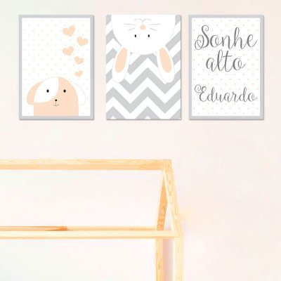 Quadros Decorativos Meus Amiguinhos - Trio - 25x34 cada
