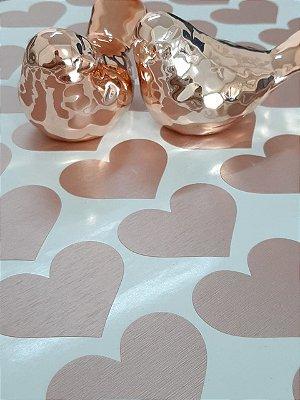 Adesivo de Parede Corações Rose Aço Escovado - 120unid
