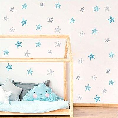 Adesivo Estrelas Azul e Cinza