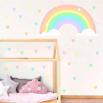 Adesivo de Parede Infantil Arco-íris e Corações