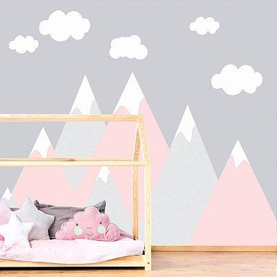Adesivo de Parede Infantil Montanhas Rosa e Cinza
