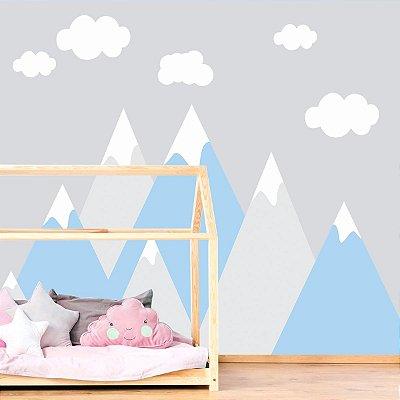 Adesivo de Parede Infantil Montanhas Azul e Cinza