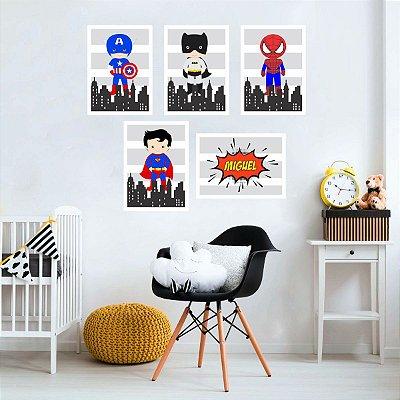 Quadros Super Heróis Baby para quarto infantil - branco