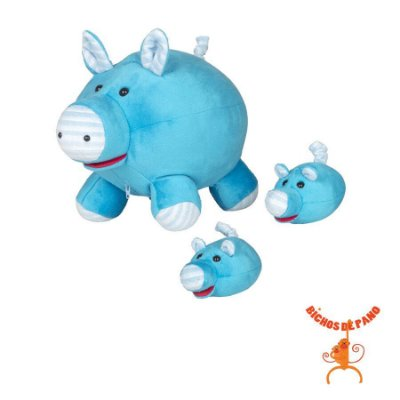 Gravida - Porcalhona Com 2 Filhotes - Azul