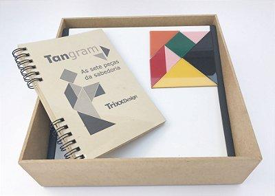Estojo de tangram de acrílico com suporte e livro