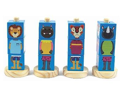 Jogo de Encaixe – Cubos Animais Azul – Brinquedos de Madeira – New Art