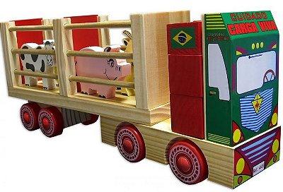 Caminhão Fazendinha- madeira-multicolorido-carimbras