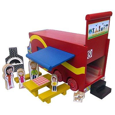Caminhão trailer de madeira- Multicolorido- Carimbras
