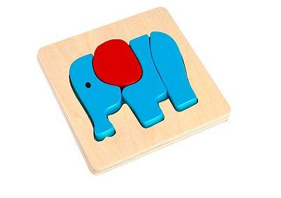 Quebra cabeça- Tabuleiro Elefante- Madeira- Tooky Toy