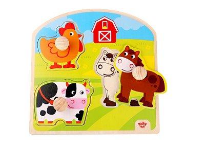 Tabuleiro para encaixe- Fazenda 3-Madeira-Tooky Toy