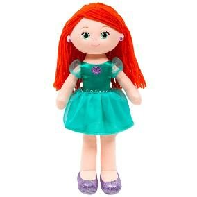 Boneca Ariel de pano 40cm princesas da Disney Bubba