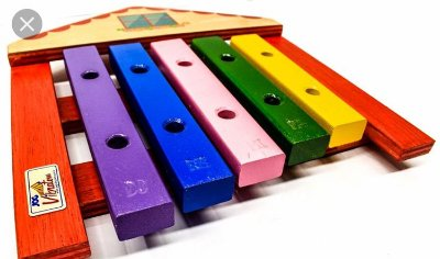 Xilofone Casa-5 Teclas-Madeira-Multicolorido-JogVibratom