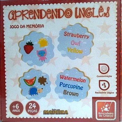 Aprendendo Inglês-Jogo da Memória-Madeira-Brincadeira de Criança