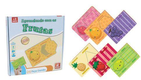 Quebra Cabeça - Aprender Cores – Aprendendo com as Frutas - Brinquedo de Madeira – Brincadeira de Criança