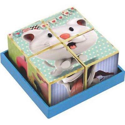 Quebra Cabeça - Brinquedo de Madeira - Coleção Cubos Gatinho/Cachorrinho - New Art