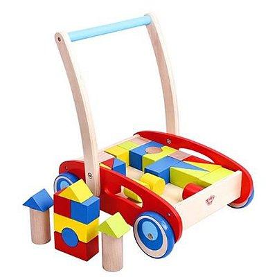 Carrinho de Empurrar - 33 Peças - Madeira - Tooky Toy