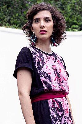 Vestido|Camisetão Raia Begonia Cordata com Estampa de Besouro e Folhas