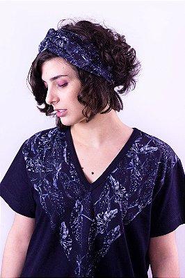Camiseta Voga Begonia Lazuli com Estampa de Folhas