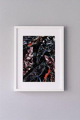 Giclée Fine Art Begonia com Folhagens Pretas em Aquarela