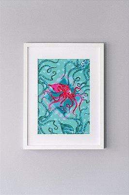 Giclée Fine Art Octopodinae de Polvos em Aquarela
