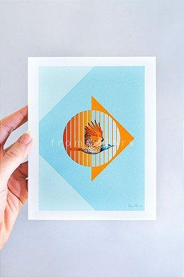 Mini Print Colaptes de Pica-Pau em Aquarela
