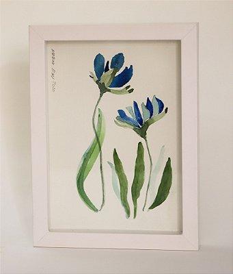 Quadro | Aquarela original | Flores azuis