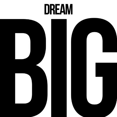 "QUADRO DE VIDRO ""DREAM BIG"" 45CM X 45CM"