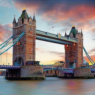 """QUADRO DE VIDRO """"LONDON BRIDGE"""" 45CM X 45CM"""