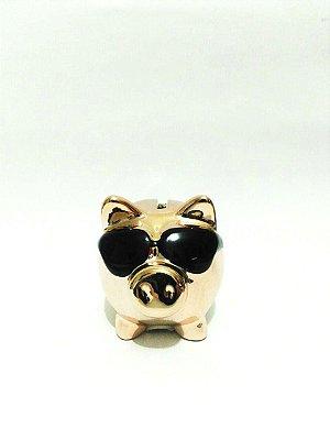 Cofre Porquinho de Óculos Rosa e Dourado Metálico