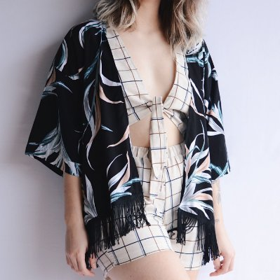 Kimono Floral Preto