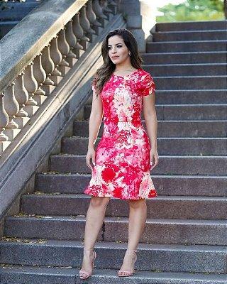 Vestido Tubinho Marisa Vermelho com Sino Moda Evangélica