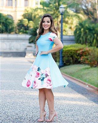 Vestido Godê Taís Azul Moda Evangélica